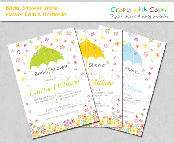 DIY Bridal Shower Party Invitation, printable invitation, Flower Rain ...