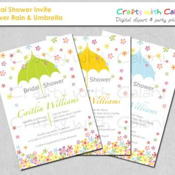 DIY Bridal Shower Party Invitation, printable invitation, Flower Rain with umbrella